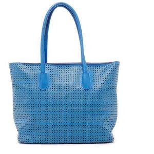 Handbags - Perforated Large Tote in Retro Blue